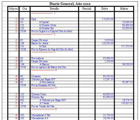 ejemplo libro diario contabilidad formato libro diario de contabilidad diario de