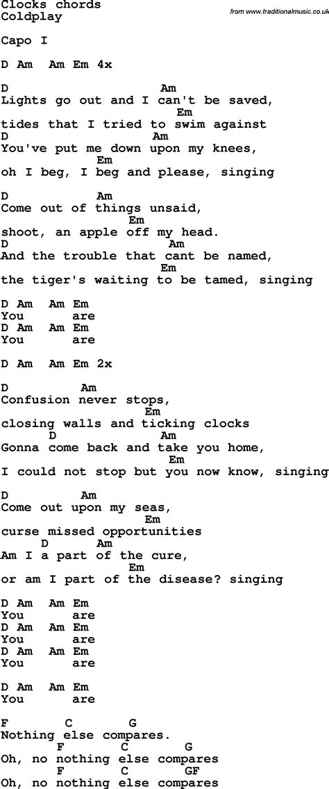 coldplay clocks chords song lyrics with guitar chords for clock s