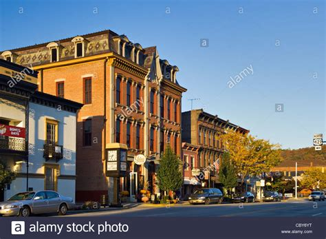small american town business buildings on small american town main street in
