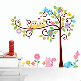 Wall Stickers For Girls Bedrooms design roommates scroll cute owl tree peel stick wall