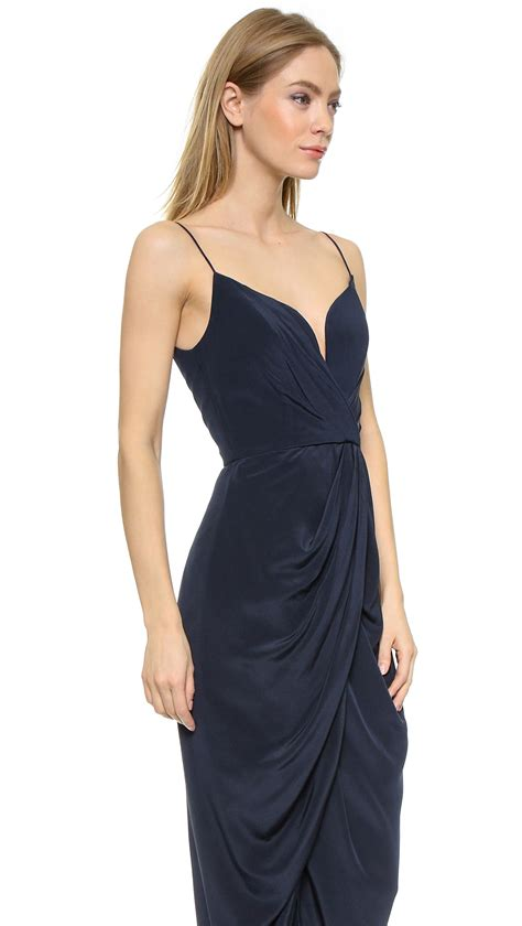 zimmerman silk drape dress zimmermann zimmermann french navy in blue lyst