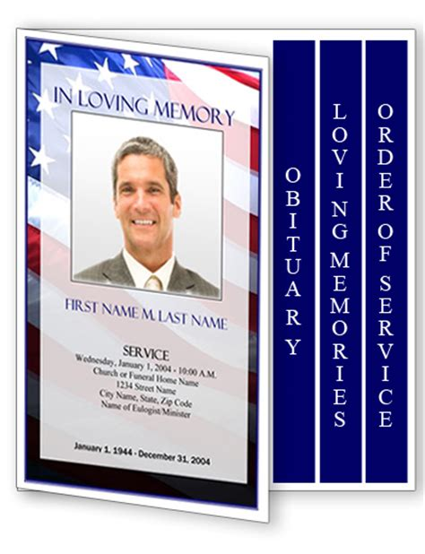 funeral program template 4 page graduated patriotic us