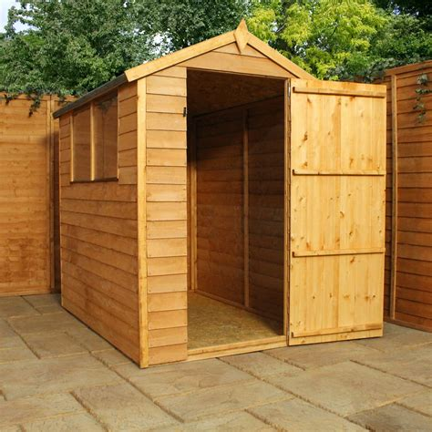 installed    overlap apex shed  single door