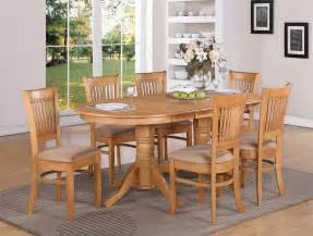 Oak Dining Room Table And Chairs 7 Pc Vancouver Oval Dinette Kitchen Dining Table W 6 Upholstery Chairs In Oak