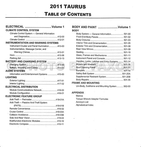 how to download repair manuals 2011 ford taurus transmission control 2011 ford taurus repair shop manual original 2 volume set