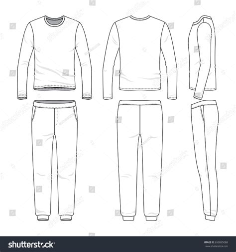 blank clothing templates front back side views lon sleeved stock vector 659895088
