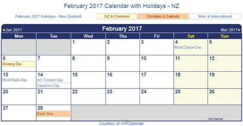 Calendar 2016 February Nz Win Calendar February Calendar Template 2016