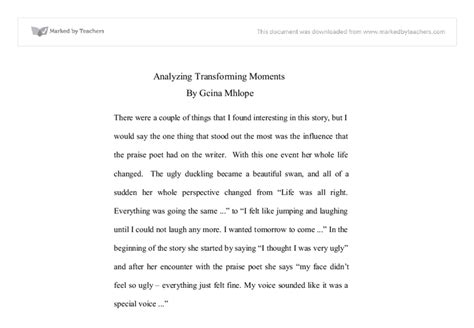 Argumentative Essay Dating by Analyzing Transforming Moments Miscellaneous Marked By Teachers