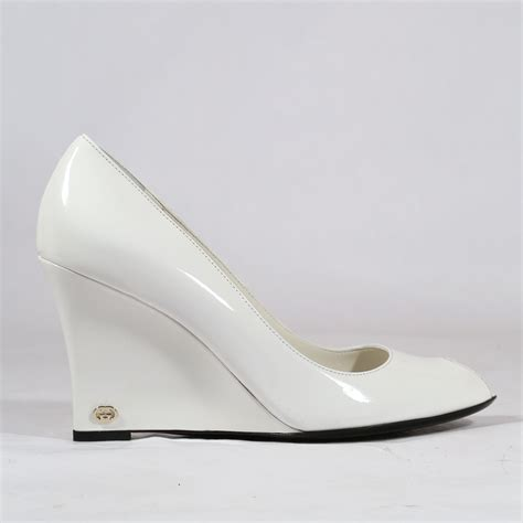 gucci womens shoes classic wedge pumps white ggw1576