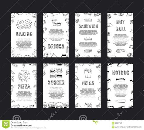 Fast Food Menu Card Templates by Fast Food Cards Stock Vector Image 58697750