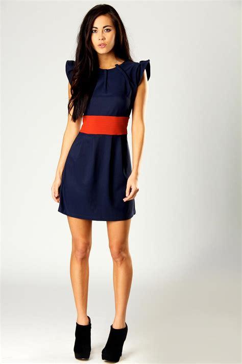 boohoo renee shoulder detail 2 in1 belted dress bnwt ebay