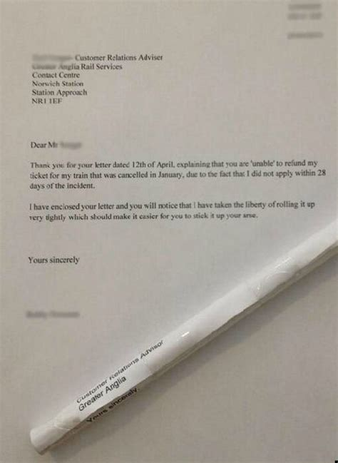 Anonymous Letter Service Uk Irate Passenger Returns Rolled Up Refund Rejection Letter To Company With