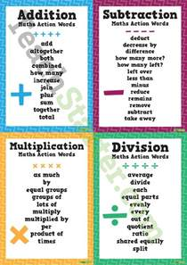 Synonym For Table Maths Action Words Addition Subtraction Multiplication