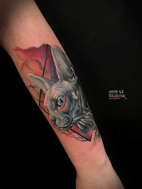 geometric tattoo sphynx cat watercolor geometric