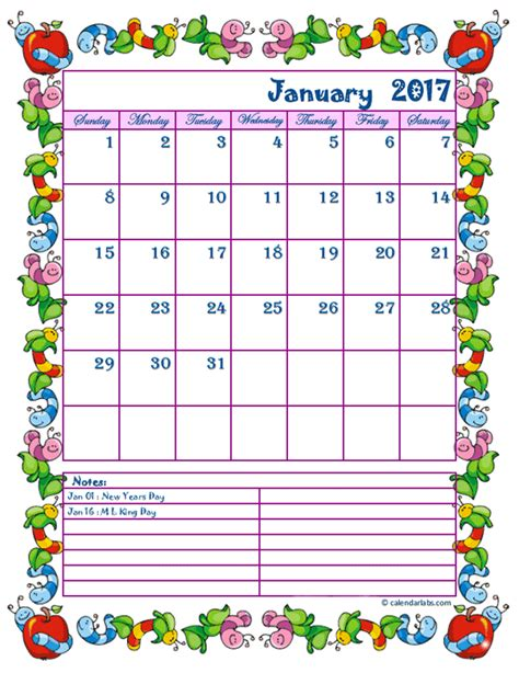 Free Preschool Calendar Printables 2017