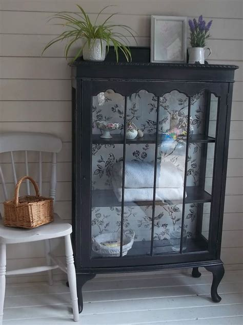 vintage shabby chic glass fronted display cabinet cupboard