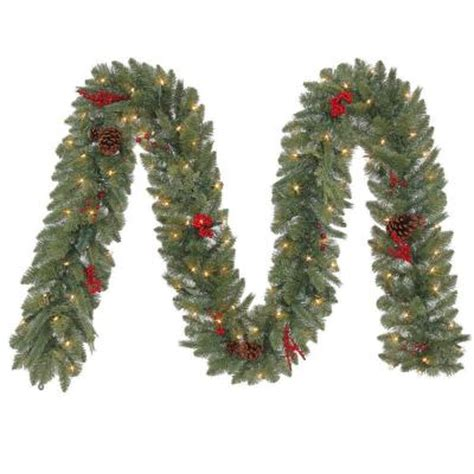12 ft winslow artificial garland with 100 clear lights