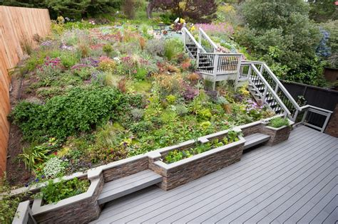 Banister Planters Hillside Deck Landscape Traditional With Wood Frosted