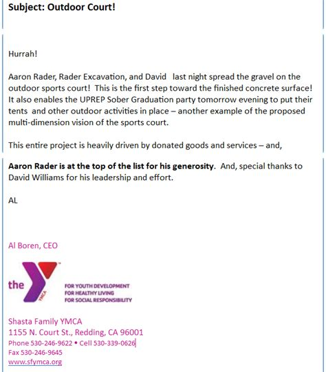 Community Service Project Letter A Thank You Letter From The Shasta Family Ymca Redding Homes