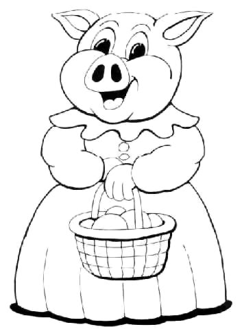 mama pig coloring page mother pig with baskets coloring pictures