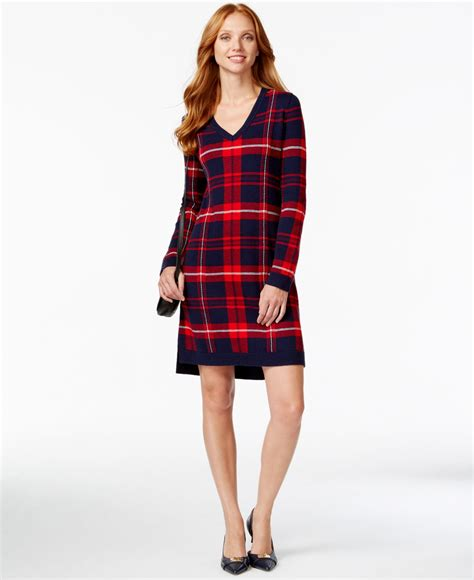 V Neck Plaid Sweater lyst hilfiger plaid v neck sweater dress in blue