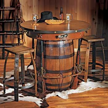 whiskey barrel kitchen table and chairs cowboy western pub table and bar stools rustic western