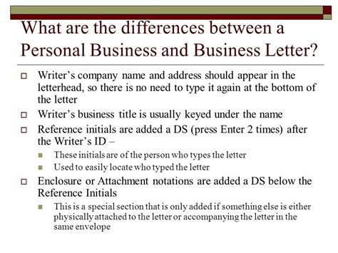 Difference Between Business Letter And Application personal business letters and common documents ppt