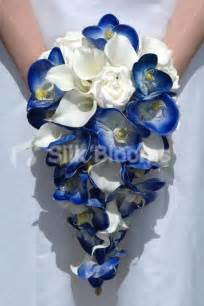royal blue orchid ivory calla lily amp rose cascading bouquet royal blue orchid ivory calla lily
