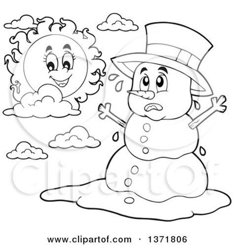 melting snowman coloring page clipart of a black and white christmas snowman melting