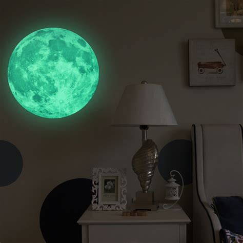 glow in the dark home decor 30cm large moon glow in the dark luminous diy wall sticker