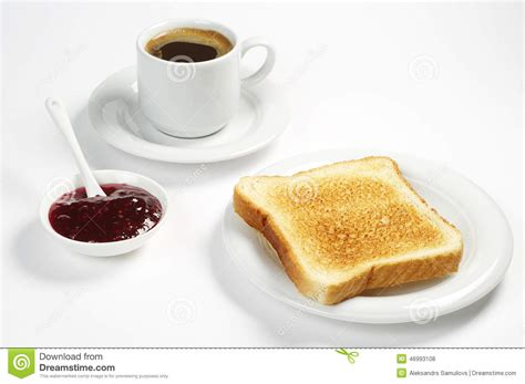 toast coffee house toast bread with jam and coffee stock photo image 46993108