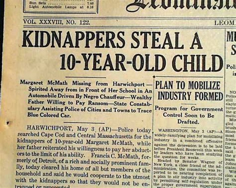 news of a kidnapping peggy mcmath kidnapping for ransom rarenewspapers com