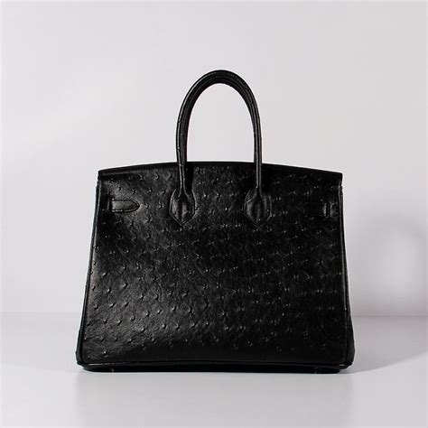 Hermes Birkin Ostrich Mini Black hermes birkin 35cm ostrich leather bag black gold bk35 ostrich black 308 00 replica