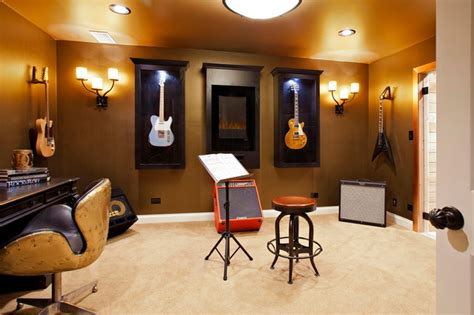 guitar room and guitar room transitional home office chicago by danielle b interiors inc