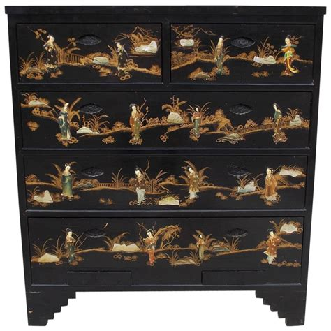 black chinese chest of drawers chinese black lacquered and stenciled graduated five