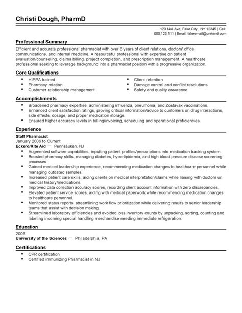 Pharmacist Cv Exle by Cover Letter For Pharmacist Cv And Resume Template