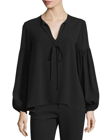 Split Neck Sleeve Top co sleeve split neck top black