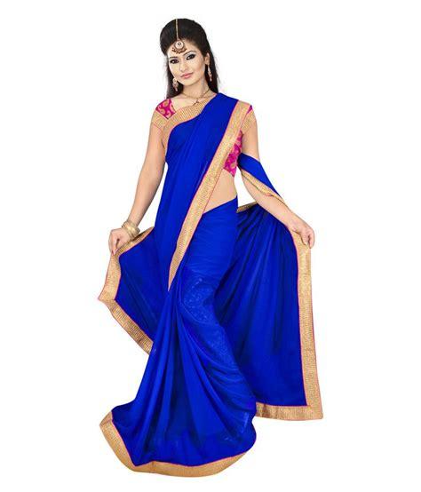 Blouse 3colour Blue Vv sonika royal blue colour faux chiffon saree with lace border and chanderi blouse buy sonika