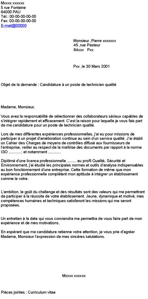 Exemple De Lettre De Motivation Québec modele lettre de motivation interim