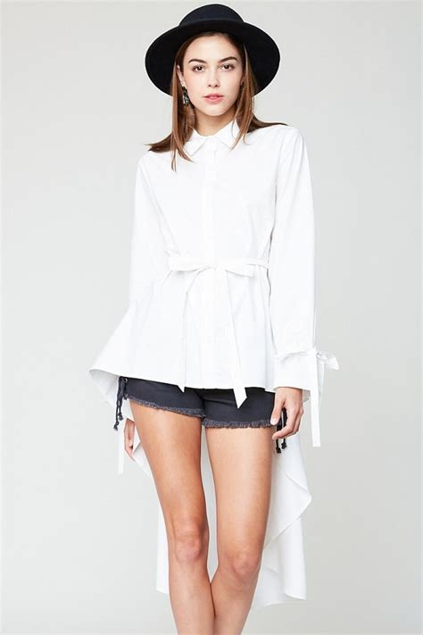 High Low Button Blouse by White High Low Hem Button Up Blouse Modishonline