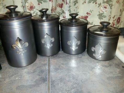 fleur de lis canisters coffee sugar all purpose flour self