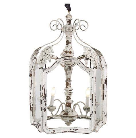 Chic Lighting Fixtures Amelie White Wash Shabby Chic Country Lantern Pendant Kathy Kuo Home