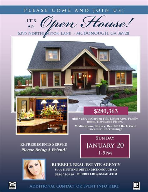 free real estate open house flyer templates images