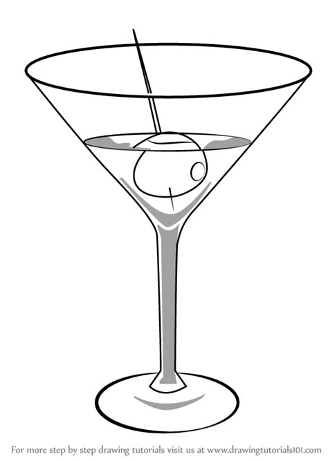 martini drawing learn how to draw a martini drinks step by step
