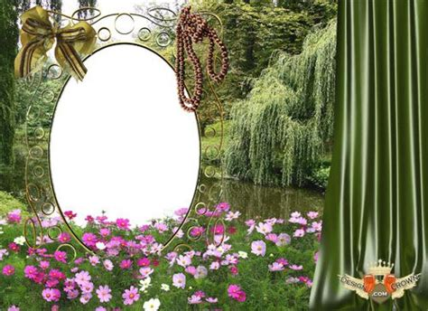 photoshop template nature flowers in pond nature psd template with oval photoshop