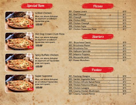 Pizza Menu And Flyer Indesign Template Pack By Azadcsstune Graphicriver Menu Flyer Template