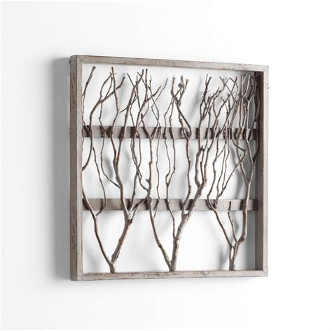 wooden wall decor twigs framed wood wall decor by cyan design