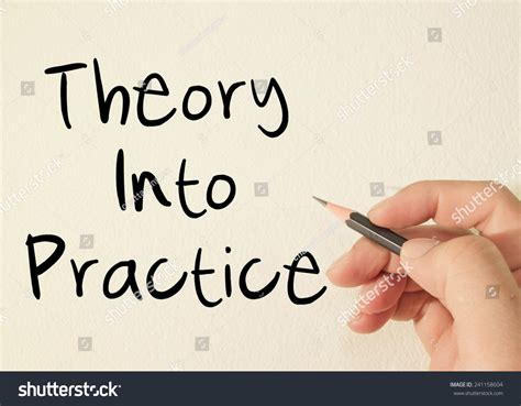 learn text concept write on theory into practice text concept write stock photo 241158604