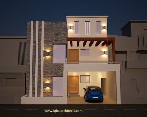 3 Floor House Design Iqbal Architect Sfront Elevation Of 10 Marla House At