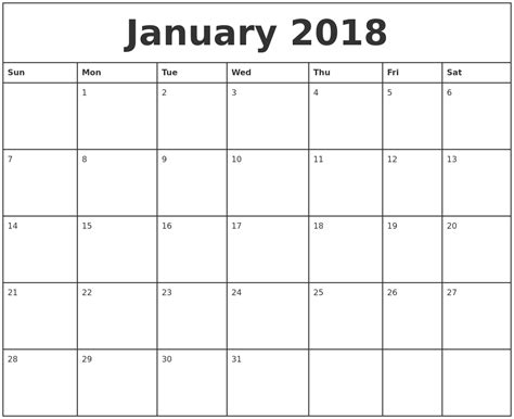 printable calendar for january 2018 january 2018 printable monthly calendar